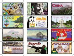 Use free country stamps to learn about countries around the world (and links to free world geography curricula for all ages)