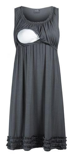 Ruffle Hemmed Maternity & Nursing Lounge Dress