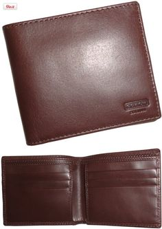 Coach Water Buffalo Double Billfold Mens Wallet 74396 Mahogany/Brown, Authentic Coach product., #Apparel, #Wallets