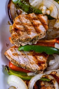 Grilled Pork Loin with Peppers and Onions makes a quick and easy dish perfect for weeknight or weekend meals!