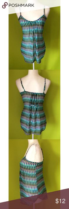 """Maurices Spaghetti Geo Print Cami Top S B354  Top  Bust - 34"""" Length - excluding strap 20""""  Maurices Spaghetti Button Back Geometric Blue Pink Multi Color Cami Top Size Small  Free shipping on orders over $75 Maurices Tops Camisoles"""