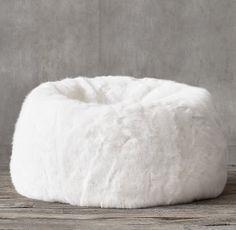 Ultra Faux Fur Bean Bag - White