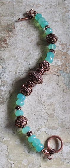 Copper and Green Chalcedony Copper beads Bracelet
