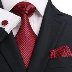 TheDapperTie.com - New Men's Red And Black Geometric 100% Silk Neck Tie Set…