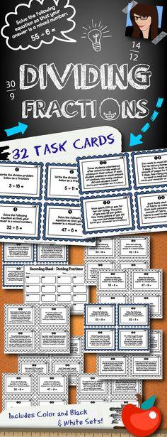 32 task cards for dividing fractions