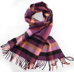 Softer Than Cashmere Plaid Striped Long Fringe Winter Scarf Shawl Wrap - 72x12 - Purple