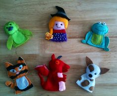Room on the broom felt finger puppets. - when Christmas is sorted you need to sew these for lu so she can act out the book!!!!!!!!!!!