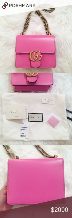 """Authentic Gucci Marmont Pink Shoulder Chain Bag - 100% authentic and completely new!  - Hard to find color!!! - Bubblegum pink leather  - Antique gold toned hardware  - Chain can be worn as shoulder bag or as crossbody - Flap closure - 7.5"""" length x 6"""" height x 2"""" width  - Cotton linen lining - Includes original tag, care cards, and authenticity card Gucci Bags Shoulder Bags"""