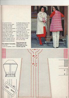 """Je vous envoie les explications du """" kimono et son gilet chaud"""" parues dans le n° 24. Il m'a tapé dans l'oeil et je le trouve très actuel. On trouve beaucoup de manteaux avec une doublure matelassée amovible ces temps ci. Dans le magazine il est indiqué..."""