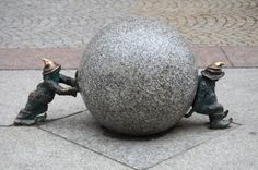 Wroclaw has a lot of gnome status all over the city. There is a tourist map pointing were the gnomes are. If you want to have fun, look for the gnomes!