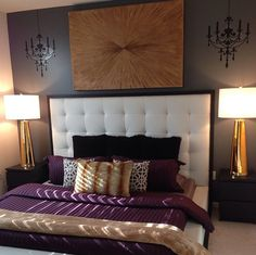 Our Century Table Lamps and Golden Voyage painting add shimmering touches to Instagram fan @this1prettydude's bedroom.