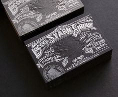 Locco Starr Group Business Cards | Silkscreen and letterpress on Colorplan Ebony Black | paperspecs.com
