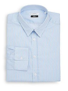 Versace Collection Trend-Fit Striped Dress Shirt - White - Blue - Size
