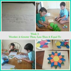 Raising Samuels Homeschool: Week 2: Weather and Greater Than, Less Than & Equal To
