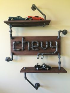 Black Iron Pipe Chevy Sign and Shelf.