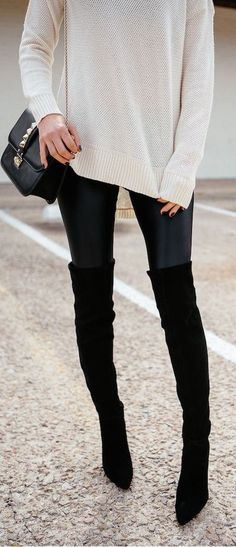 Add some spice to your over the knee boots with these edgy leather leggings. Still keeping it classy, this adds a high fashion element to your look. Perfect for a girls night or your next date night. cute long sweaters to wear with leggings Look Fashion, Fashion Outfits, Womens Fashion, Fashion Trends, Fashion Black, Latest Fashion, High Fashion, Petite Fashion, Fashion Bloggers