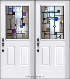 Mondrain inspired front door design - pinks to capture the sunlight and back door - blues for a cooler effect.