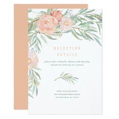 Peach Watercolor Flower Wedding Reception Card - elegant gifts gift ideas custom presents