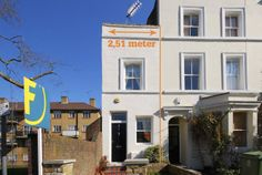 Tiny: A one-bedroom house in Denmark Hill, south-east London, is said to be the skinniest home in the capital - measuring just wide One Bedroom House, One Bedroom Flat, Crazy Houses, Two Storey House, Narrow House, Storey Homes, Side Garden, Art Deco Home, London House
