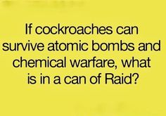 If cockroaches can survive atomic bombs and chemical warfare, what is in a can of Raid?