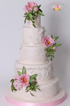 Lace and pink peony - Cake by Viorica Dinu