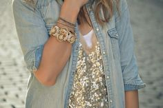 love this look! faded denim and sparkly shirt. how perfect