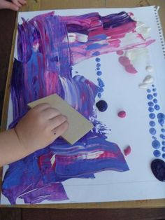 Swipe art. Paint project for children and toddlers. No paint brushes!