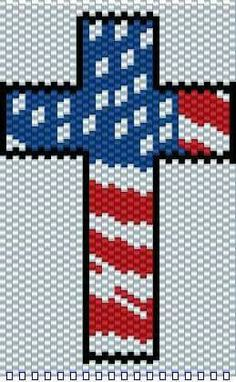 Flag  cross Melty Bead Patterns, Beading Patterns Free, Seed Bead Patterns, Peyote Patterns, Loom Patterns, Beaded Angels, Beaded Cross, Beaded Christmas Ornaments, Christmas Toys