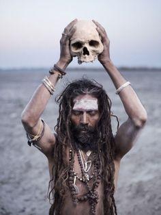 sadhu with skull - striking image www.americansadhus.com #americansadhus