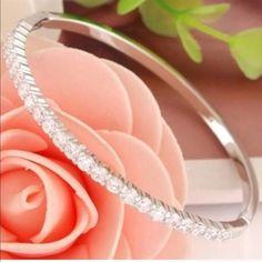 Silver CZ Crystal Bangle Bracelet Brilliant CZ Crystal Bangle Bracelet Made from Sterling Silver - Rhodium Plated for a Brilliant Platinum Finish. None Jewelry Bracelets