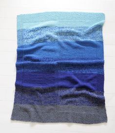 Very cool ombré effect baby blanket-- just knit with two strands held together…