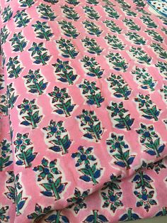Block Printed Cotton Fabric Hand Stamped Table Indian
