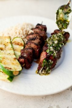 BBQ grass fed beef with an amazing chimichurri Sauce