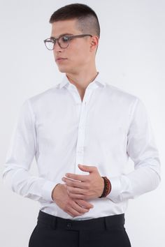 Slim Fit White Shirt In Semi Spread Collar