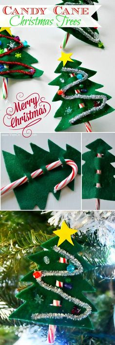 Tis the season for all sorts of fun! These easy Candy Cane Christmas Trees are a holiday tradition that we all love! A great craft idea for little ones, the perfect Christmas party favor, ornament, and it makes a pretty gift topper too! // Mom On Timeout