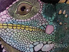 Pen and ink Iguana Illustration    http://www.etsy.com/listing/57865894/original-artwork-iguana-get-up-close-9-x