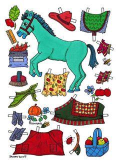 Karen`s Paper Dolls: Horses 1-8 Paper Dolls in Colours. Heste 1-8…
