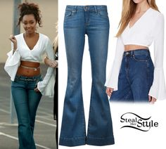 """Little Mix released their new music video for their single """"Love Me Like You"""" on Friday. In her first scene, Leigh-Anne is seen wearing a Nasty Gal Hot as Bell Crop Top ($48.00) and Paige Fiona Flare Jeans ($213.00 – wrong color)."""