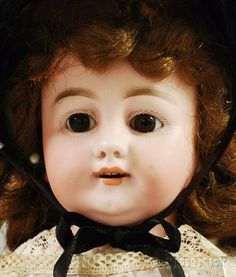 Early Simon Halbig Bisque Shoulder Head Doll, Germany, c. 1885, open mouth, cut in teeth, brown stationary eyes, slight smile and overbite, marked 10 S.H.6, new wig, kid body, bisque lower hands, ht. 16 in.
