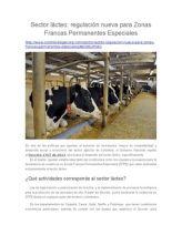 Sector Lácteo: Regulación Nueva Para Zonas Francas Permanentes Especiales