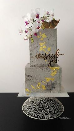 Concrete Wedding Cake by Nix Kitchen - http://cakesdecor.com/cakes/304359-concrete-wedding-cake
