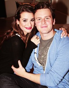 Lea Michele and Jonathan Groff backstage at the 'Spring Awakening' anniversary reunion (December 2, 2013)