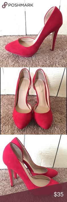 Trafaluc. Red Suede heels  Super Sexy, great condition red 5 in heels Trafaluc.  Shoes Heels