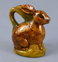 majolica pottery | Antique Majolica Glazed Pottery Ceramic Small Rabbit Figurine Pitcher ...