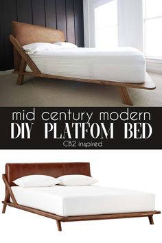 Mid Century Modern DIY Platform BEd is part of Home Accessories Modern Mid Century - How to DIY your own platform bed with midcentury modern flair and a doityourself faux leather headboard Mid Century Modern Bed, Mid Century Bed, Modern Platform Bed, Bed Platform, Diy Platform Bed Plans, Diy Platform Bed Frame, Leather Platform Bed, Platform Bed Designs, Bedroom Furniture