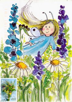 Virpi Pekkala Postcard from Aristarkos in Helsinki, Finland Flower Fairies, Flower Art, Stone Painting, Painting & Drawing, Animated Clipart, Fantasy Paintings, Whimsical Art, Painting For Kids, Cute Illustration