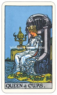 Queen of Cups Rider-Waite-Smith Tarot Card Deck Vintage Retro 1910 Art Print Poster Standard Premium A4 8x11 inches