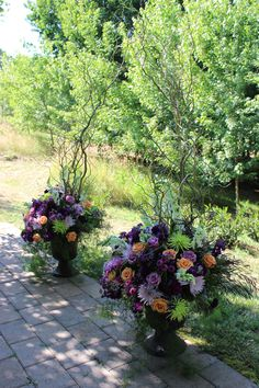 purple floral arbor decor altar flowers curly willow arbor  winery wedding flowers  http://sophisticatedfloral.com/