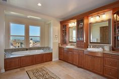 Craftsman Full Bathroom - Found on Zillow Digs. The bank of sinks and cabinets is nice as is the bathtub surround...Master bath?