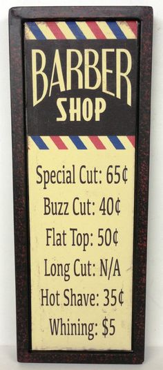 BARBER SHOP Tin Wall Decor Sign Pole Prices Beauty Stylist Salon Whining Hair Cut Shave Flat Top MAN CAVE More